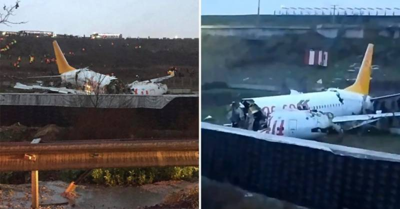 Plane skids off runway in Istanbul, breaks into two