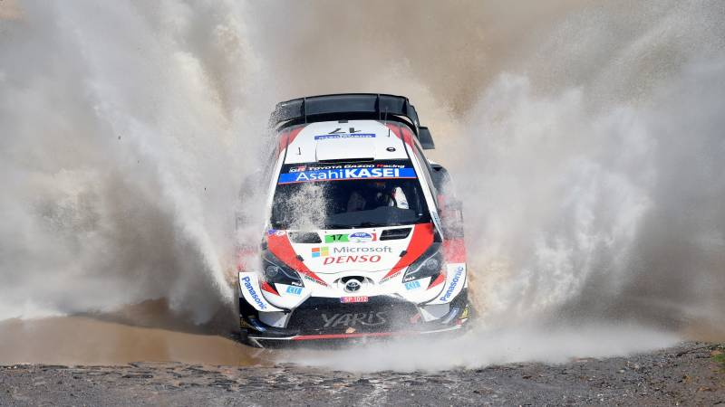Ogier powers his Toyota ahead in Mexico dust and flames