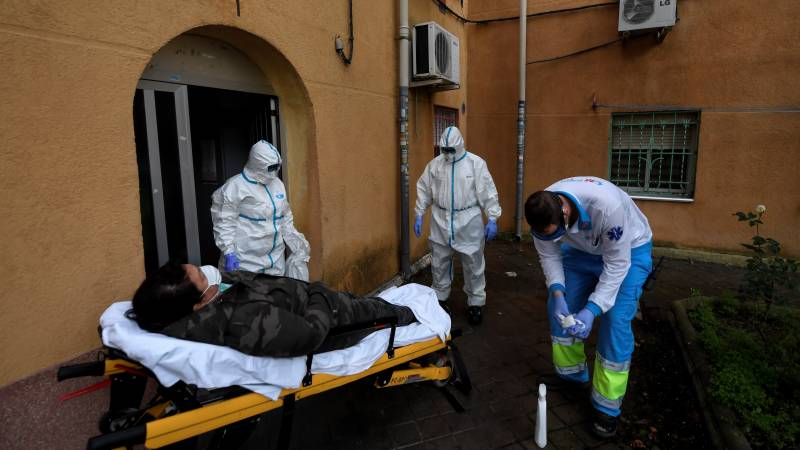 Spain's daily virus death toll drops under 400