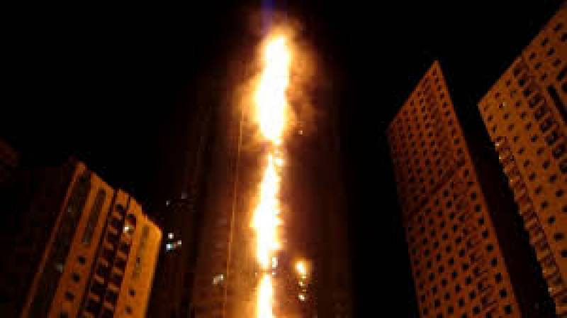 High-rise tower catches fire in Sharjah