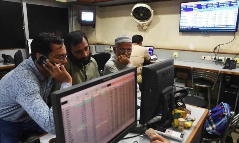 Dollar down by 57 paisas, KSE-100 Index ends up in negative zone