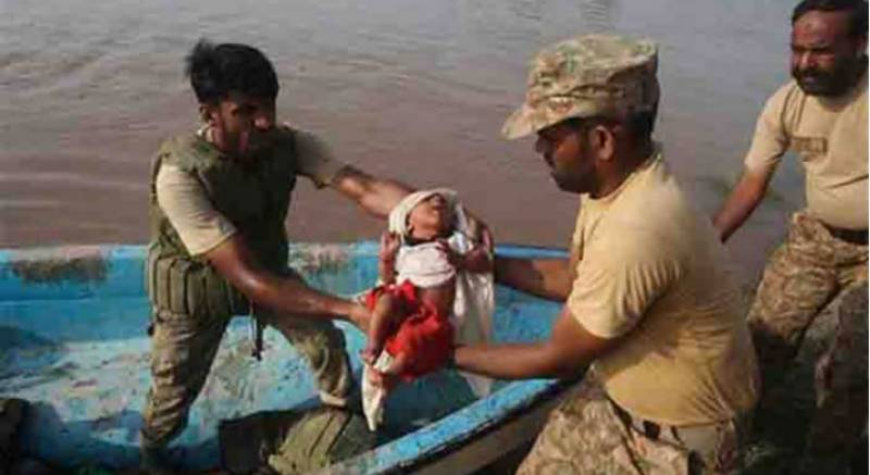 Army jawans swing into action in flood-hit Dadu