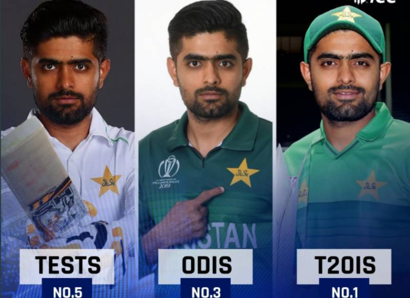 Babar Azam in top five ICC batting rankings for all formats