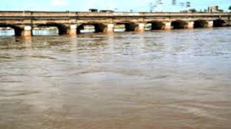 Chenab River raging at Marala after water discharge from India