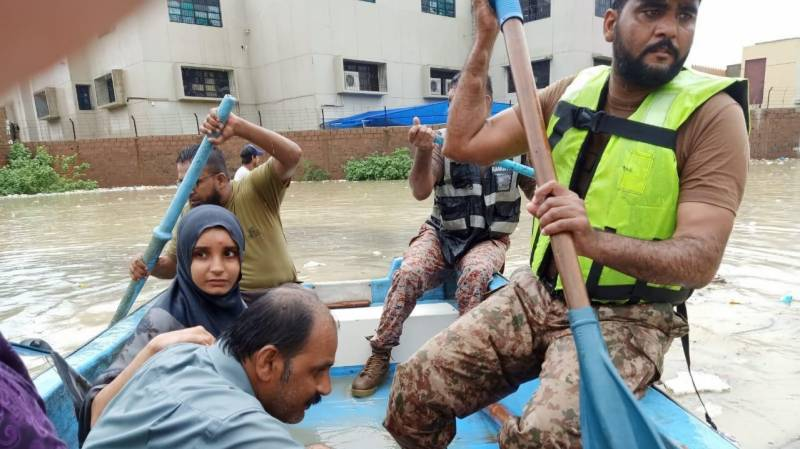 Army continues rescue and relief operation in rain-affected Karachi