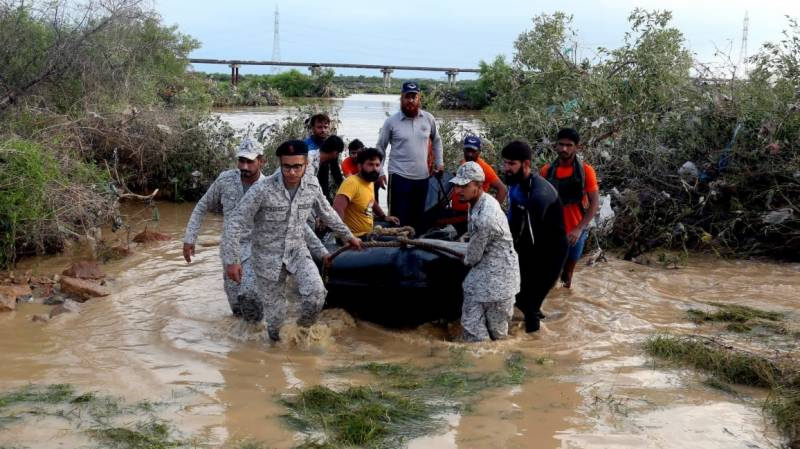 Pak Navy conducts relief operation in rain affected areas of Karachi