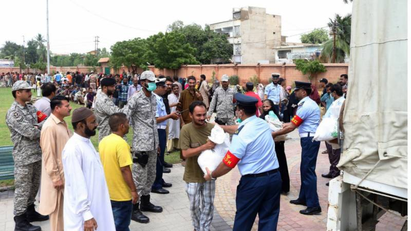 PAF distributes ration in rain-affected areas of Karachi