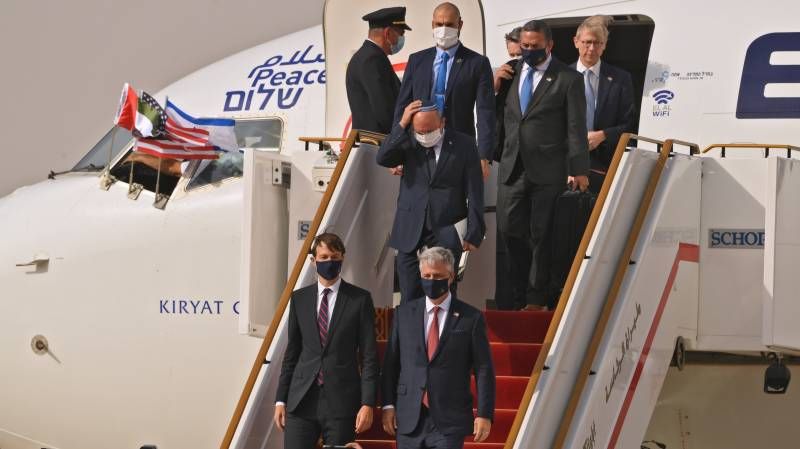 US-Israeli delegation lands in Abu Dhabi on historic flight
