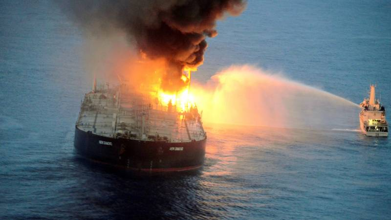 Crewman killed as oil tanker fire rages for second day off Sri Lanka coast