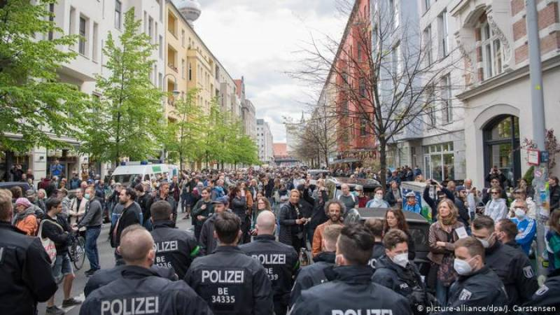 Protests against virus restrictions in Germany, Poland