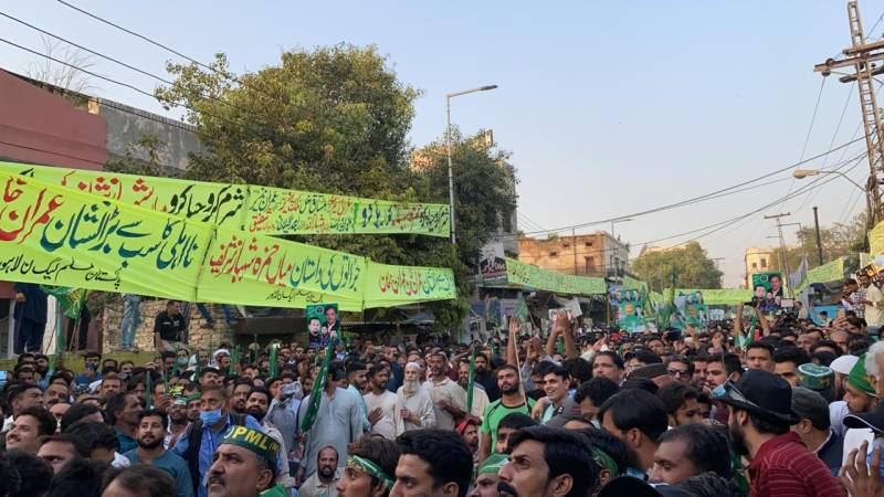 Charged PML-N workers at Lahore rally slam govt over Shehbaz arrest
