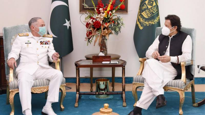 Outgoing CNS pays farewell visit to PM Khan