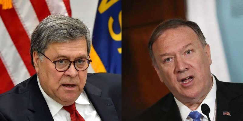Trump launches rare attack on loyal aides Pompeo, Barr