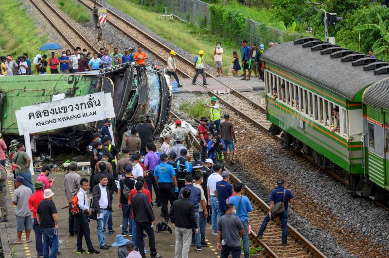 17 dead in Thailand bus-train collision