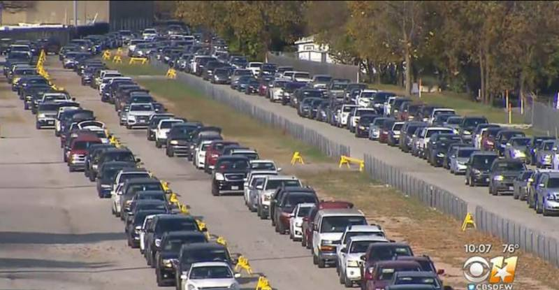 Thousands of cars line up to collect food in Texas