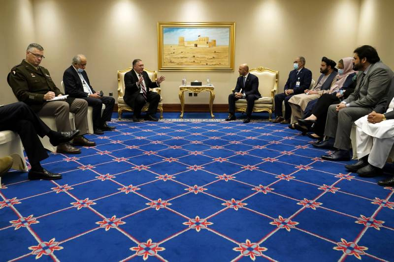 Pompeo meets Taliban and Kabul negotiators, wants talks to speed up