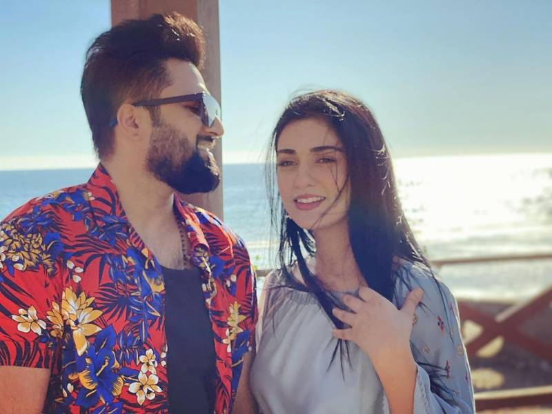 Sarah Khan enjoys her time off with husband Falak on beach