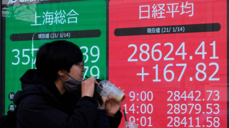 Most Asia stocks down after gains, China growth beats forecasts