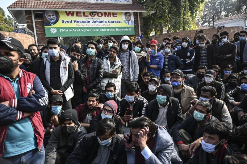Peshawar University students protest for online exams