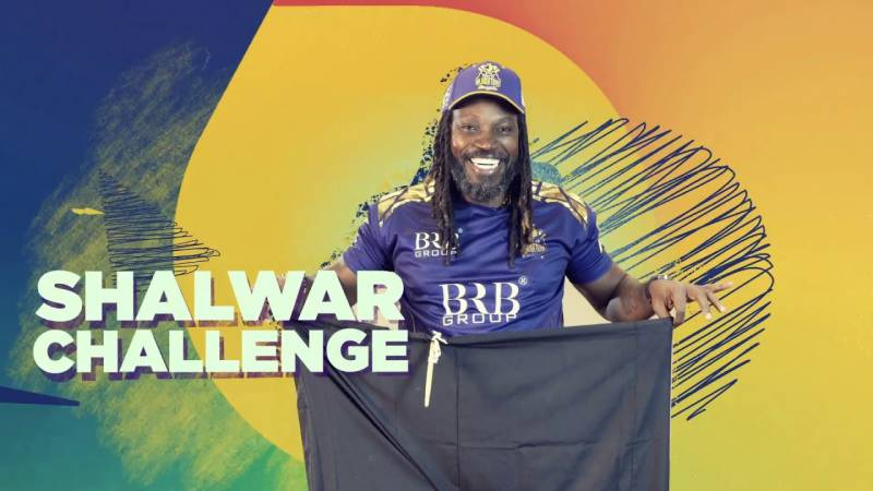 Chris Gayle takes on Shalwar Challenge