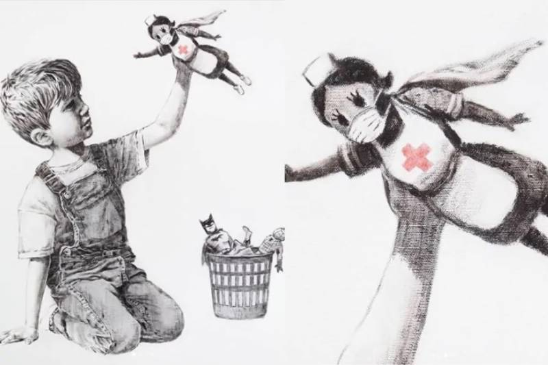 Banksy auctions painting for UK health service staff