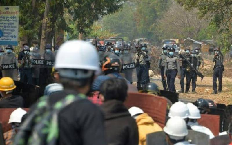 Security forces search Myanmar protest district room by room