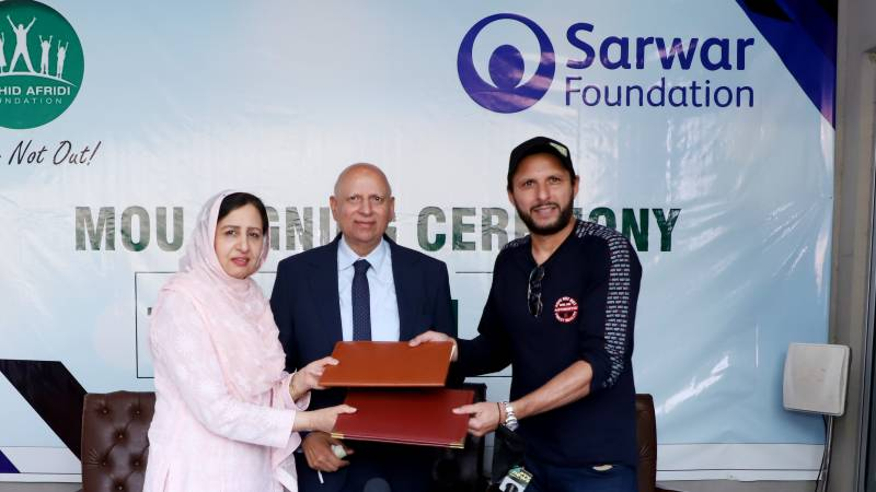 Shahid Afridi Foundation, Sarwar Foundation sign MOU for collaboration in health and education sectors
