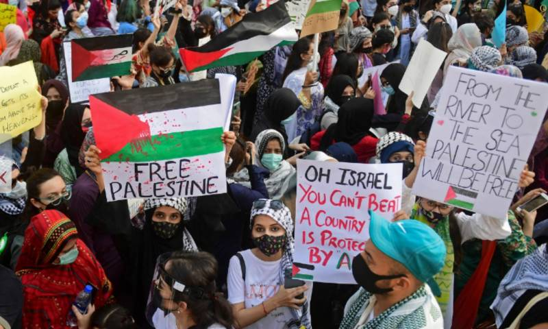 Thousands gather to show solidarity with Palestinians in Karachi
