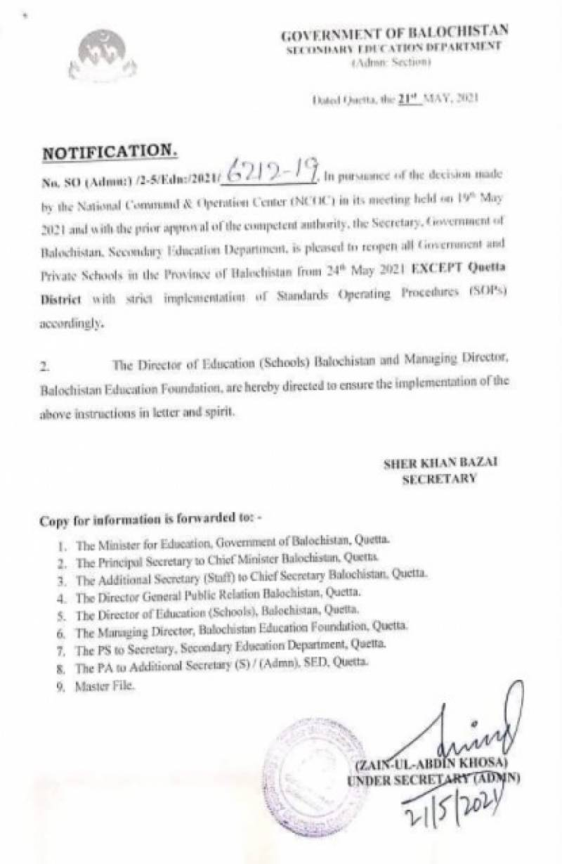 Schools in Balochistan to reopen on May 24, except Quetta