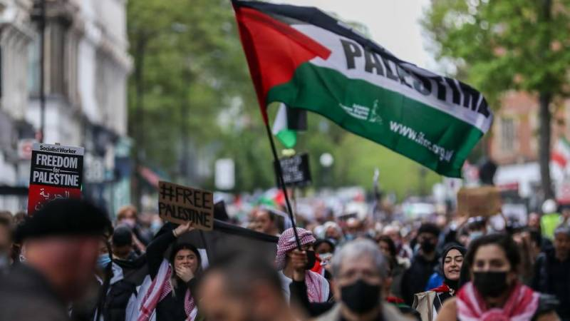 Thousands rally in France in support of Palestinians