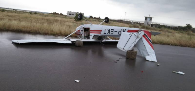 Strong winds force plane upside down at Islamabad Airport