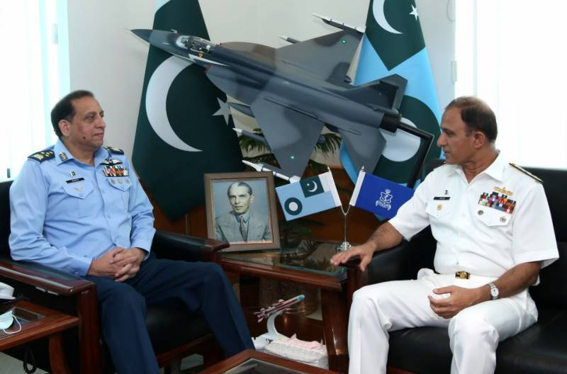 Chief of Naval Staff calls on Air Chief at Air Headquarters