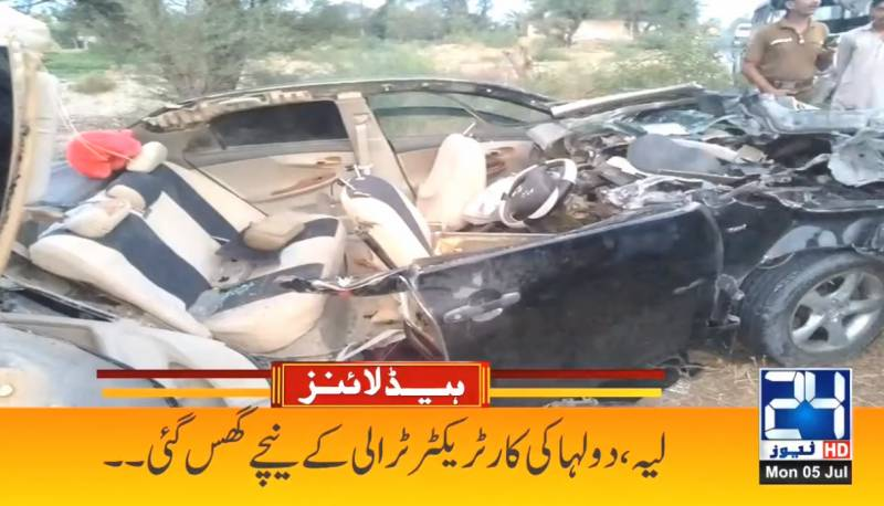 Two killed as bride's car crashes into tractor trolley in Layyah