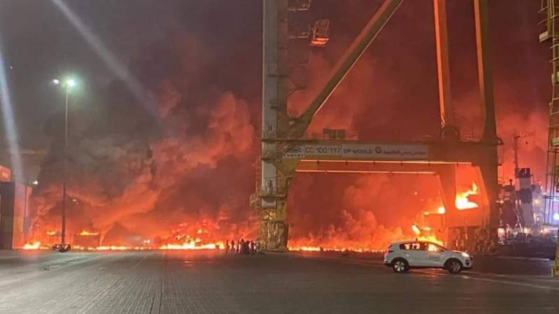 Fire at Dubai's main port after huge explosion