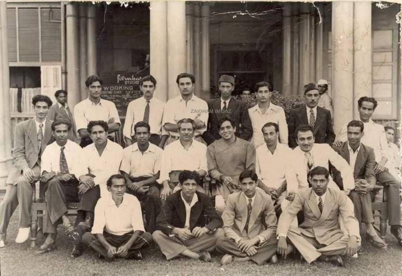 Dilip Kumar seated with Pakistan cricketers during 1951 India tour