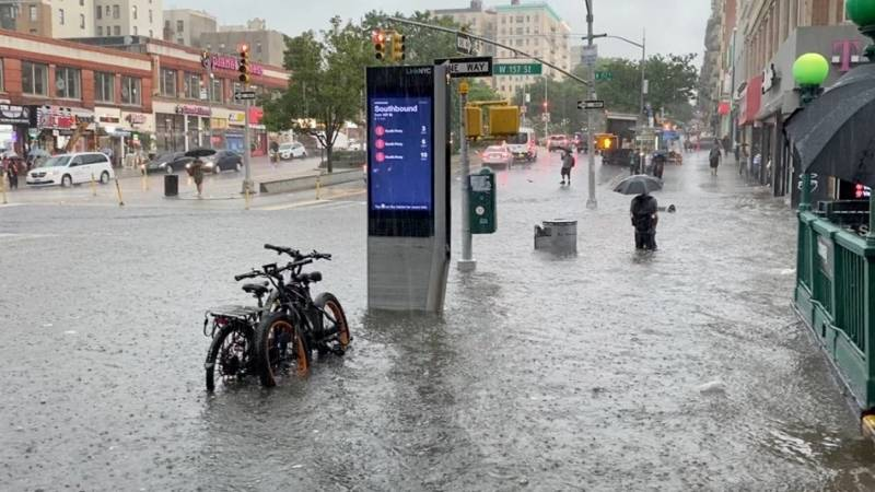 Flooding in New York as Storm Elsa expected to hit