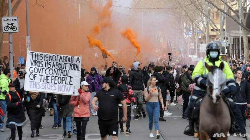 Protesters clash with police as thousands march against Australia lockdown