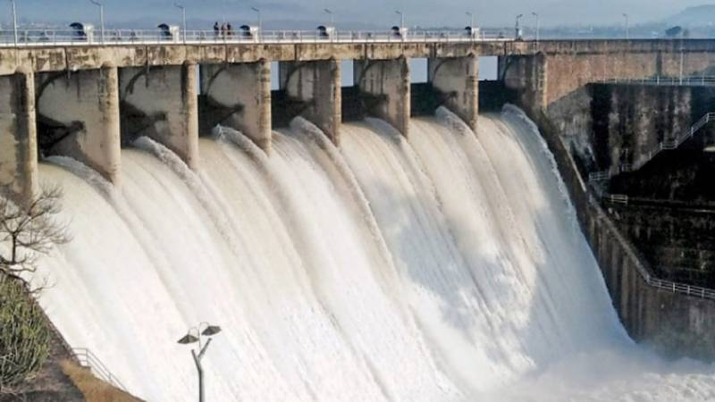Rawal Dam's spillways opened to discharge excessive water