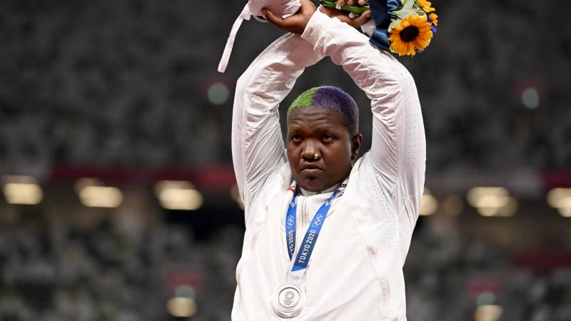 US shot putter Saunders in first Olympic podium protest