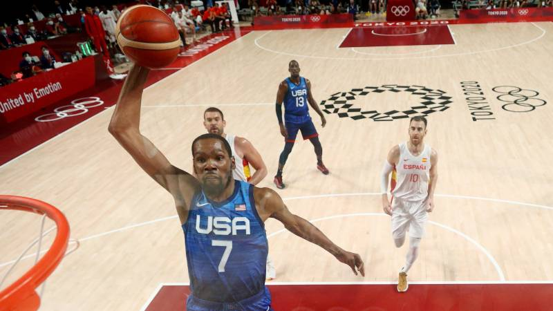 Durant leads US past Spain as France set up Slovenia Olympic semi