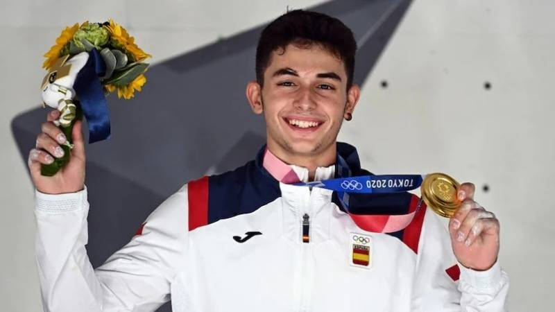 Spain's Gines Lopez becomes first Olympic sport climbing champion