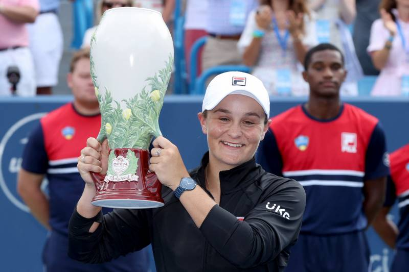 Ashleigh Barty of Australia holds the championship trophy. AFP