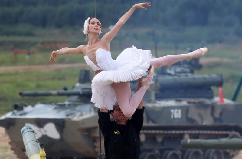 Ballet dancers perform on Russian military tanks