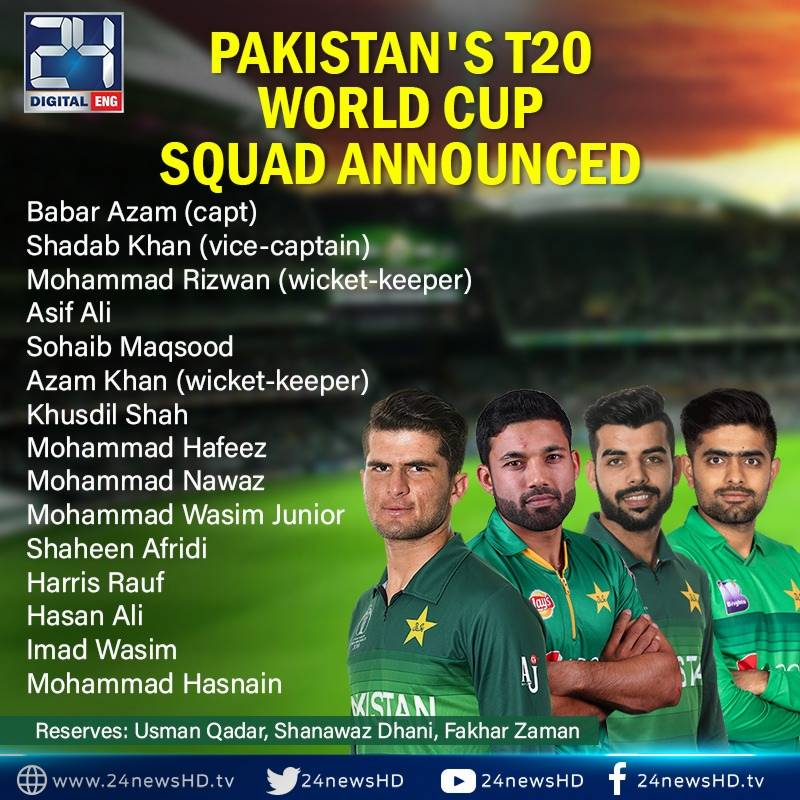 Pakistan announce World Cup T20 squad with vulnerable batting line-up