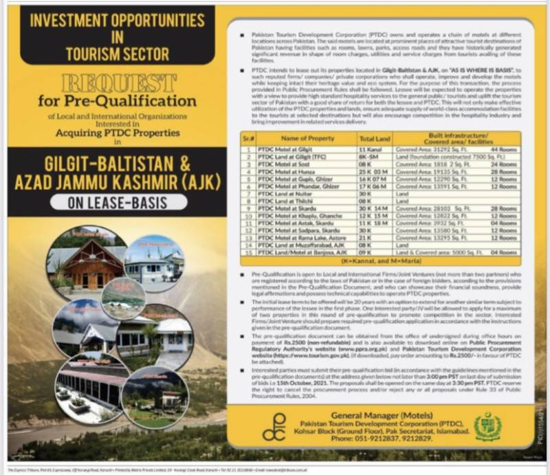 PTDC to lease out northern areas, AJK properties to enhance tourism