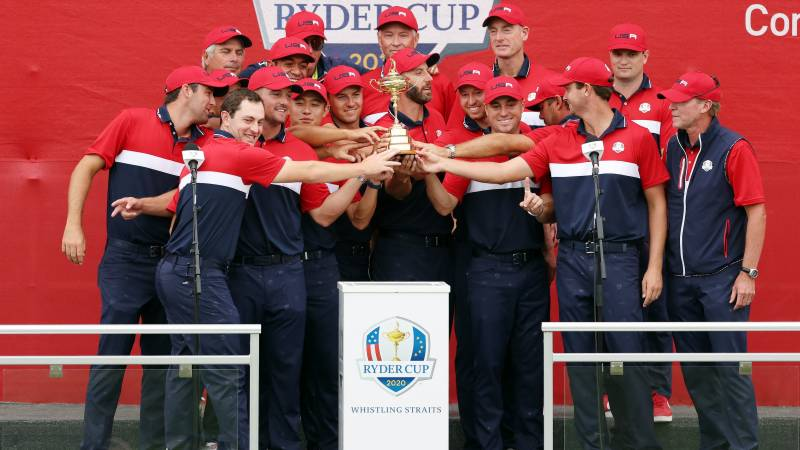 Team United States celebrates with the Ryder Cup