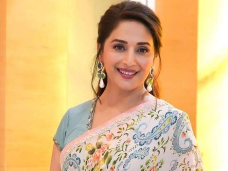 Madhuri shares picture in traditional black saree